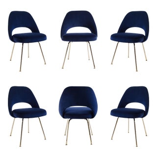 Saarinen Executive Armless Chairs in Navy Velvet, 24k Gold Edition (S/6)