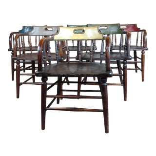 1900s Antique Captain Old West Gambling Arm Chairs -Set of 6 For Sale
