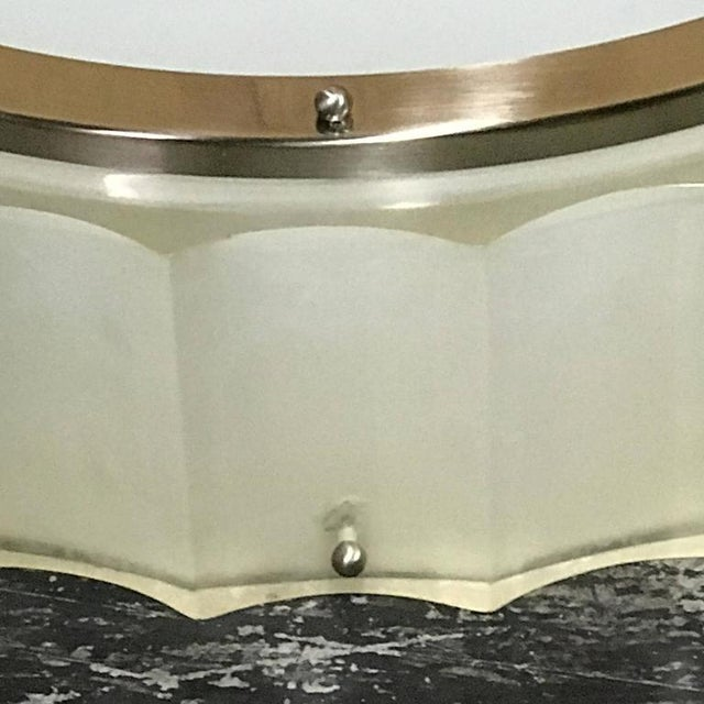 Large-scale Lucite and glass flush mount, by Sirmos of circular form with thick cast resin channeled edge and polished...