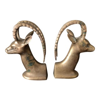 1960s Figurative Antelope Brass Bookends - a Pair