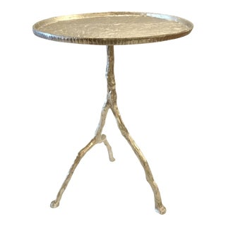 Arteriors Distressed Silver Metal Forest Park Side Table For Sale