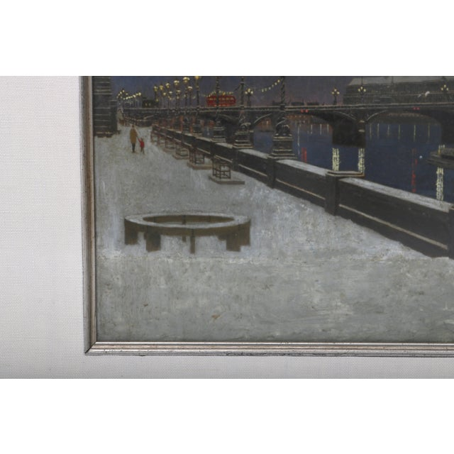"""""""London Bridge at Night"""" Acrylic Painting by David Thomas For Sale In West Palm - Image 6 of 10"""
