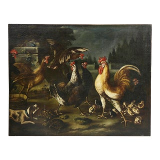 Baroque Oil on Canvas Painting Attributed to Hondecoeter For Sale