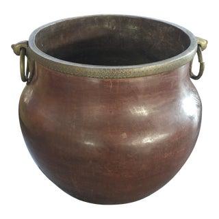 Antique Large Copper Planter Cauldron With Elephant Form Handles For Sale