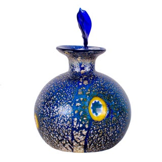 Mid-20th Century Italian Millefiori Murrine Blue Murano Art Glass Scent Bottle Preview