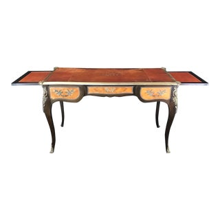 19th Century French Louis XV Bronze Mounted Kingwood & Walnut Writing Desk For Sale