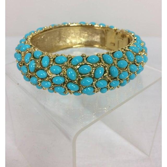 Kenneth Jay Lane Kenneth Lane Turquoise Cabochon Encrusted Gold Clamper Bracelet For Sale - Image 4 of 6