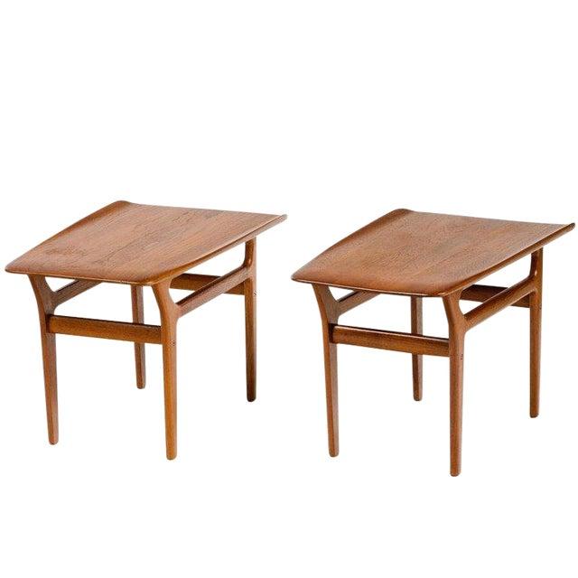 Pair of Danish Mid Century Modern Teak Side Tables For Sale