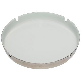 Scandinavian Modern Designer White Enamel and Chrome Ashtray For Sale