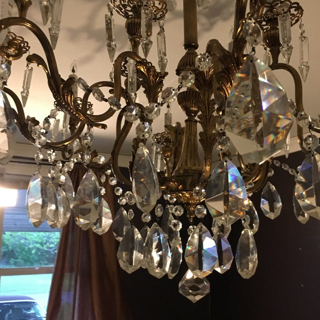 Bronze 20th Century Hand Cut Lead Crystal Chandelier For Sale - Image 7 of 11