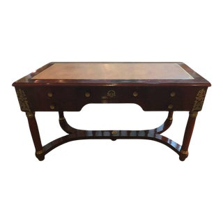 Empire Style Mahogany & Ormolu Leather Topped Desk