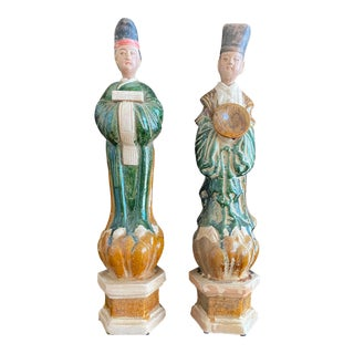 Reproduction Chinese Terra-Cotta Tomb Figures - a Pair For Sale