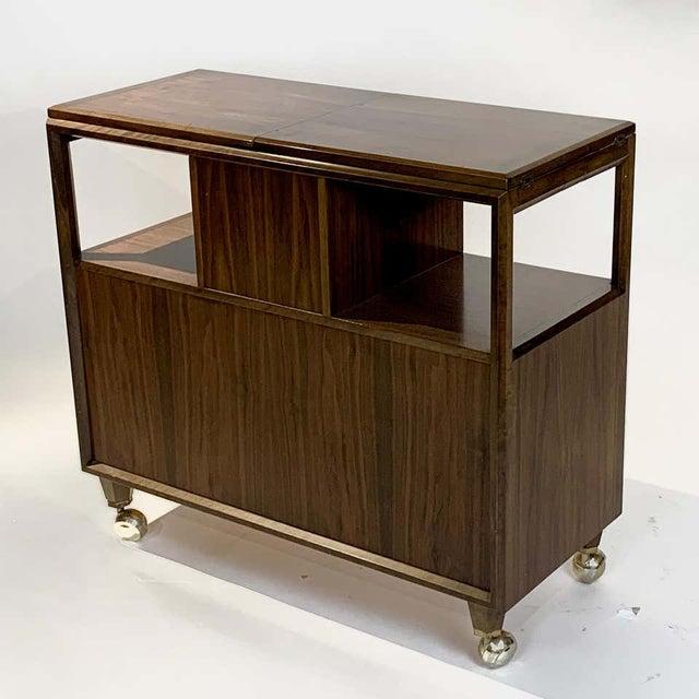 Brown Rolling Convertible Walnut Edmond J. Spence Flip Top Bar or Serving Cart Buffet For Sale - Image 8 of 13