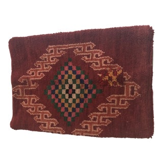 Vintage Stuffed Morrocan Burgundy Wool Pillow