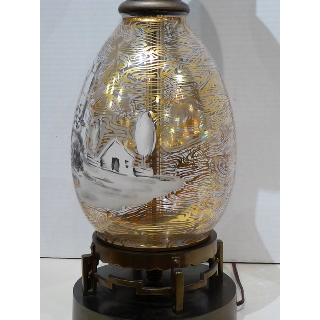1940s 1940s Italian Hand Painted Glass Landscape Scene Table Lamp For Sale - Image 5 of 11