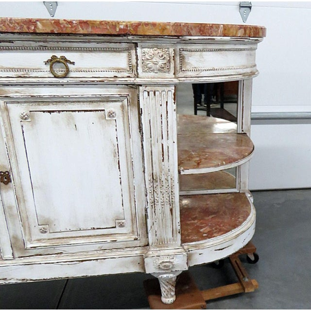 Antique Marble Top Paint Decorated Sideboard For Sale - Image 4 of 10