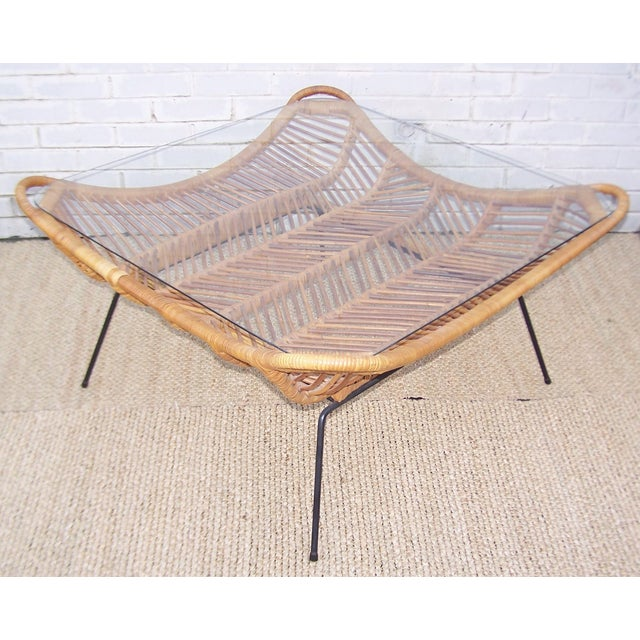 1960s Rattan, Iron & Glass Coffee Table - Image 3 of 10