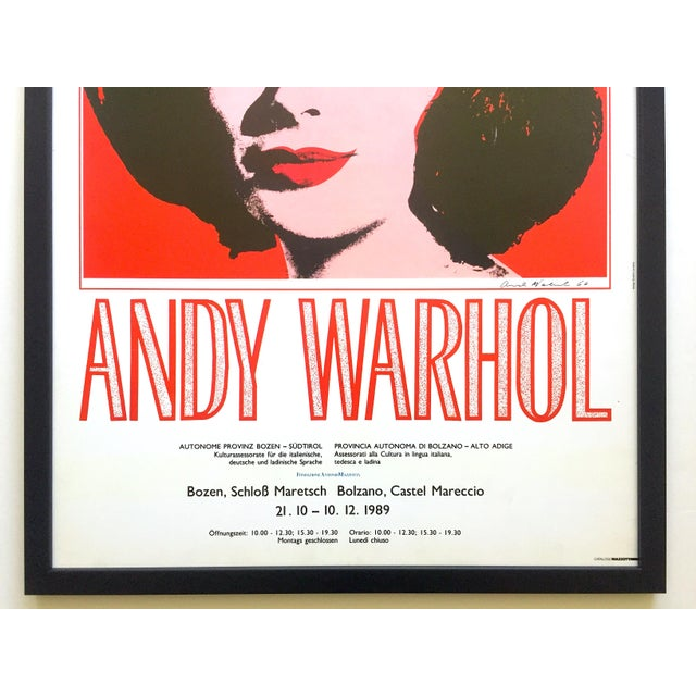 "Hollywood Regency Andy Warhol Rare Vintage 1989 Iconic Lithograph Print Framed Italian Exhibition Large Pop Art Poster "" Liz "" 1964 For Sale - Image 3 of 13"