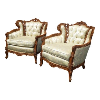 Vintage French Provincial Tufted Accent Chairs - A Pair For Sale