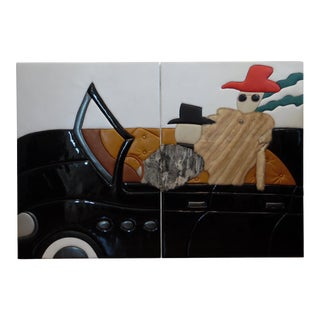 "Post Modern ""A Country Drive"" Contemporary Leather Art by Tim O. Walker For Sale"