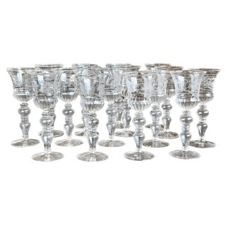 Set of 14 Blown and Etched Venetian Glass Wine Goblets For Sale