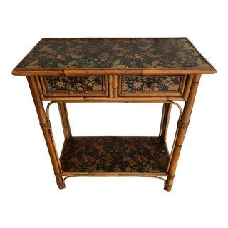Olde English Victorian Bamboo Console Table For Sale