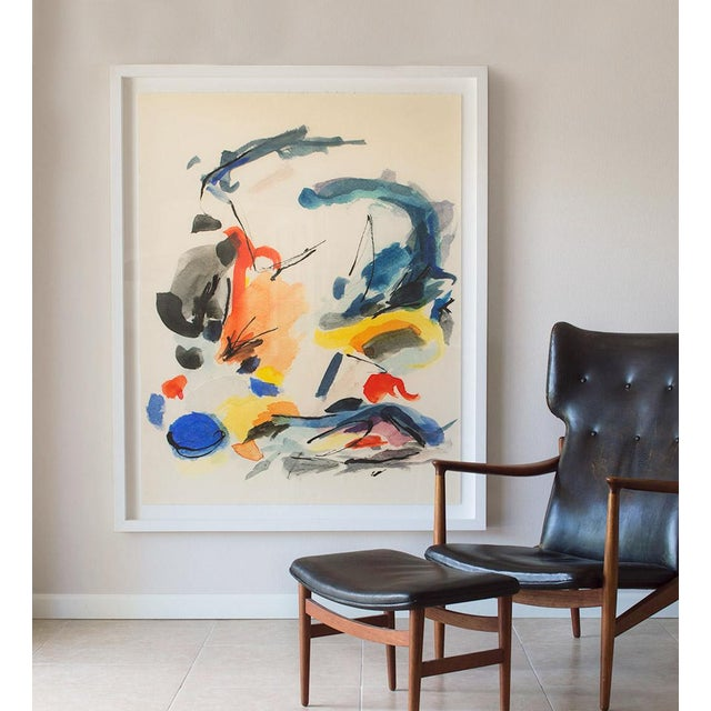 """Based on an original watercolor in the Blue Notes series, """"Blue Notes No. 2"""" makes reference both to the energy of Mid-..."""