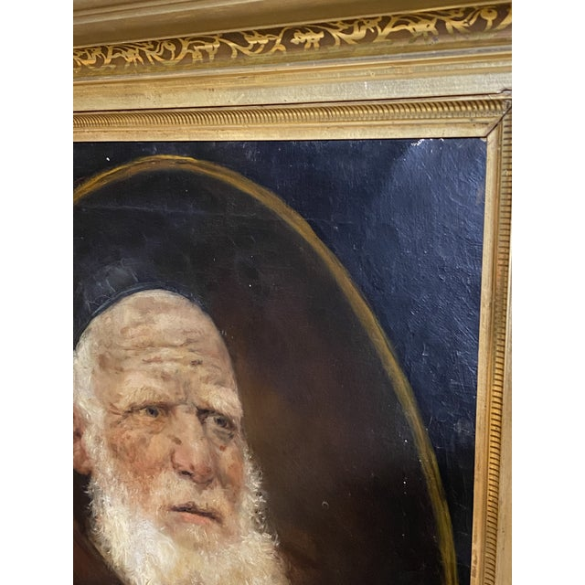 Portraiture Antique 19th C. Oil on Canvas Portrait of a Jewish Man Hebrew Beautiful Frame For Sale - Image 3 of 12