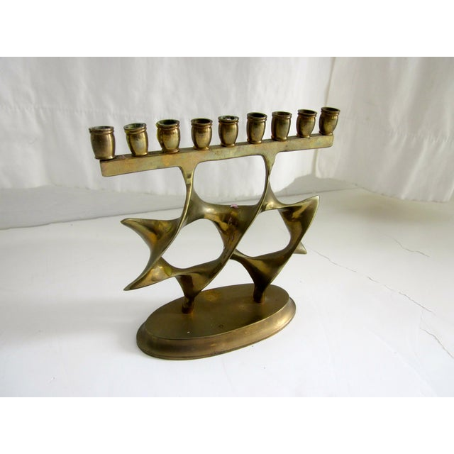 Modernist Abstract Brass Menorah Candle Holder - Image 4 of 6