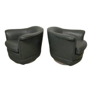 Thayer Coggin Milo Baughman Style Mid-Century Barrel-Back Chairs - A Pair