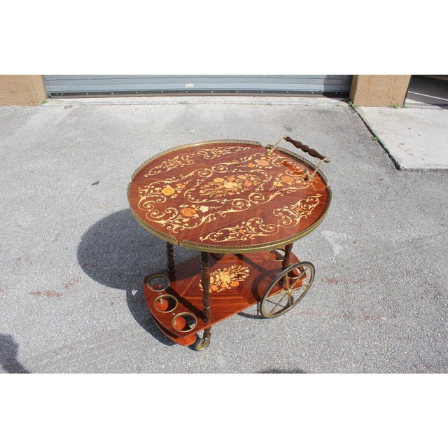 French 1950s French Marquetry Drop Leaf Bar Cart For Sale - Image 3 of 13