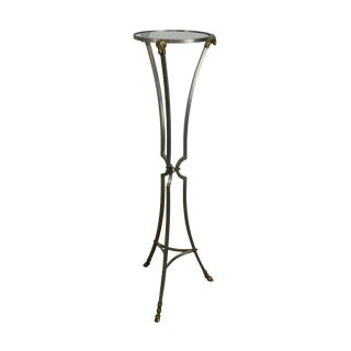 Directoire Maison Janson Style Brusted Steel & Brass Rams Head Hoof Foot Pedestal For Sale