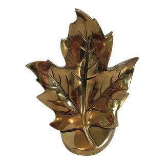 Vintage Brass Leaf Bookend For Sale