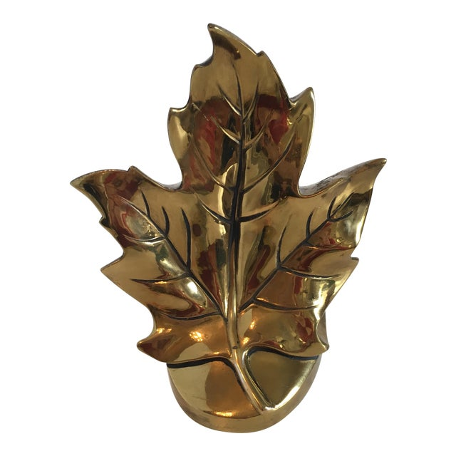 Vintage Brass Leaf Bookend For Sale