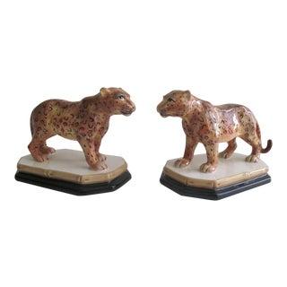 Cheetah Ceramic Figures - A Pair