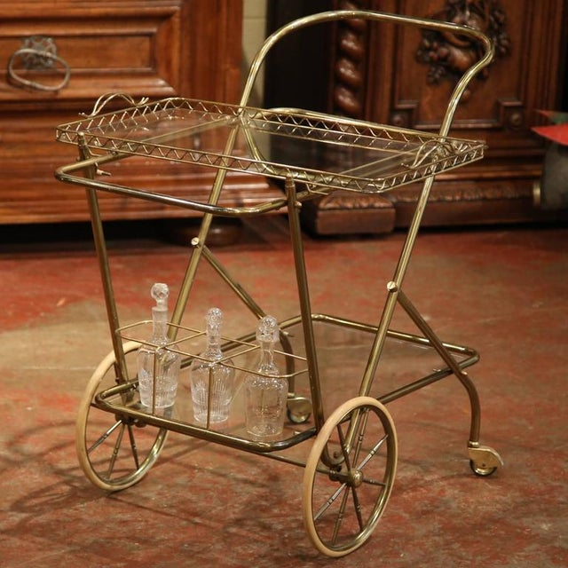 Mid-20th Century French Brass Cart With Removable Upper Tray - Image 2 of 10