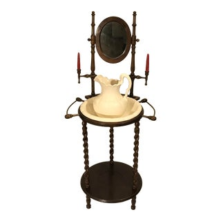 Vintage Victorian Cherry Barley Twist Wash Stand With Jug and Basin and Mirror For Sale