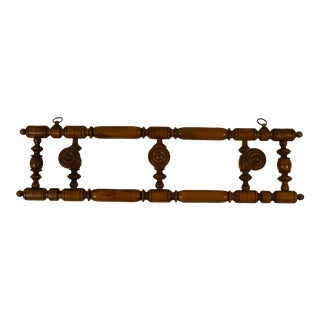 19th-Century French Wooden Coat/Hat Rack For Sale