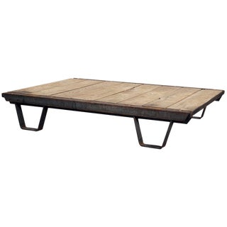 1930s Industrial Pallet & Iron Coffee Table For Sale