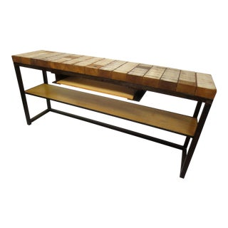 Rustic Industrial Console / Media Table Handcrafted For Sale