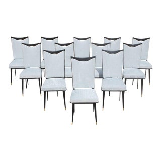 Monumental Set of 12 French Art Deco Dining Chairs, Circa 1940s