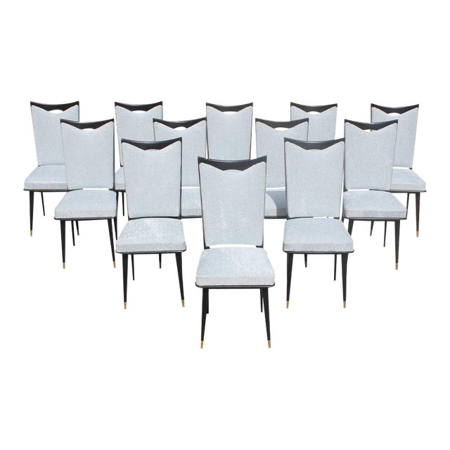 Monumental Set of 12 French Art Deco Dining Chairs, Circa 1940s For Sale