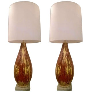 Italian 1950s Art Pottery Lamps - a Pair
