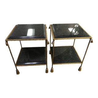 Traditional La Barge Two-Tier Marble Top End Tables With Gilt Gold - a Pair For Sale