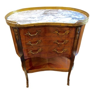Louis XV Style Fruitwood and Marble Kidney Shaped Side Table For Sale