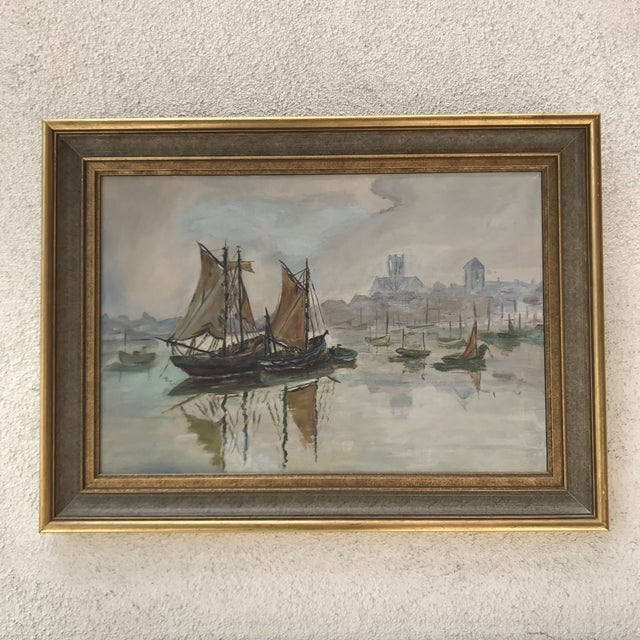 Mid-Century Sailboats in Harbor Framed Painting - Image 2 of 7