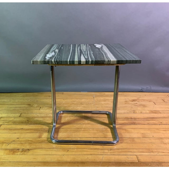 Art Deco Wolfgang Hoffman (Attr) 1930s Tubular Chrome & Marble Table For Sale - Image 3 of 11