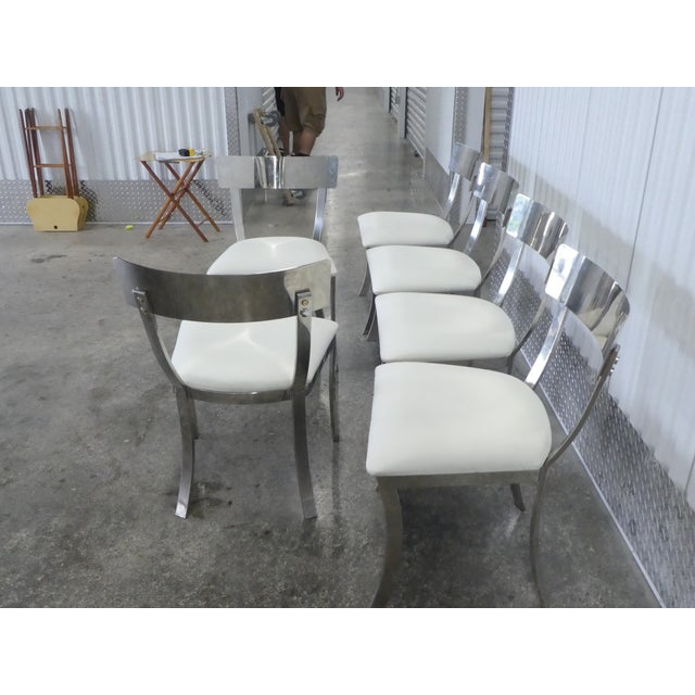 Post Modern Chrome / Aluminum Klismos Dining Chairs - Set of 6 For Sale - Image 9 of 13