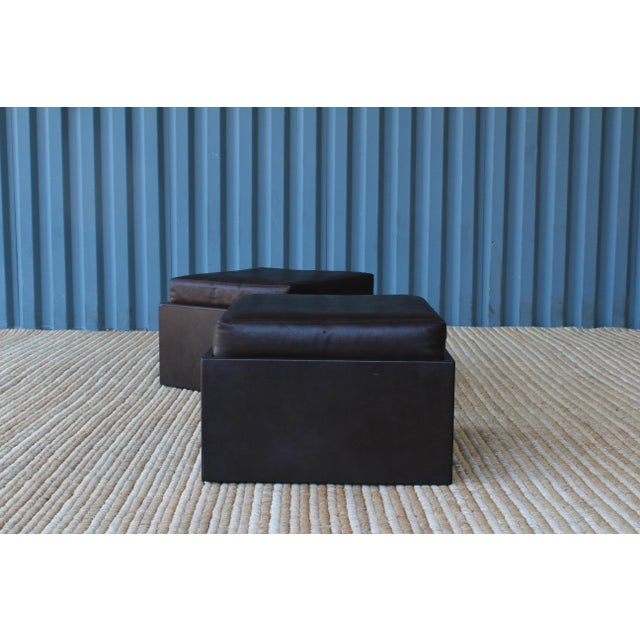 Mid-Century Modern Pair of Leather Wrapped Ottomans, 1970s For Sale - Image 3 of 10
