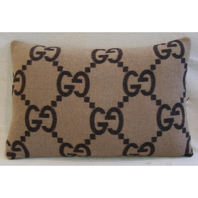 """23"""" X 16"""" Custom Tailored Gucci Cashmere & Velvet Feather/Down Pillows- Pair - Image 10 of 10"""